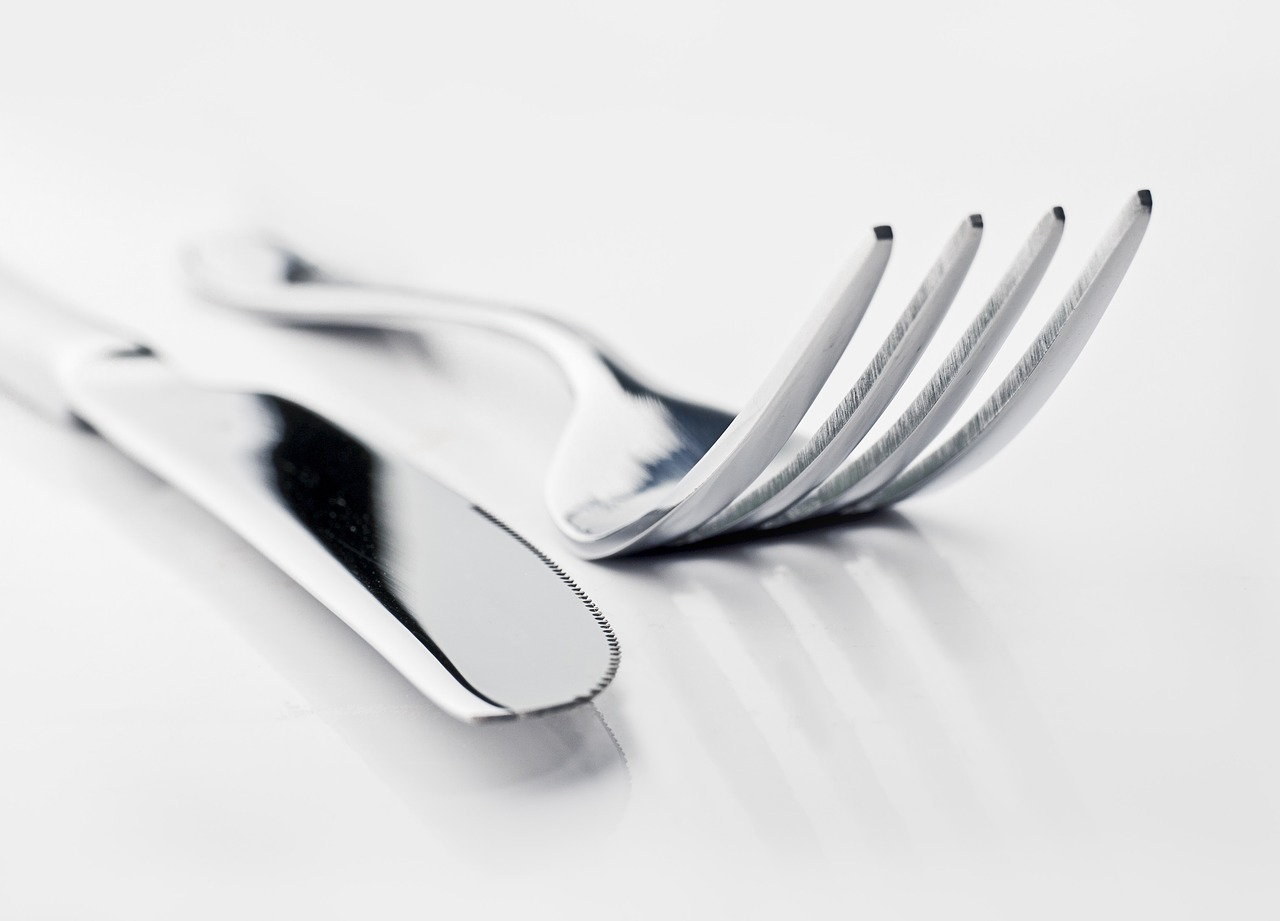 knife and fork, table, restaurant